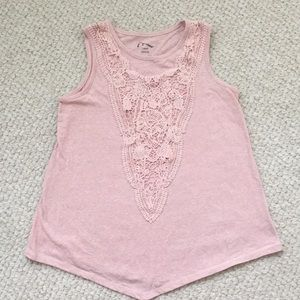 Pink tank top with front detail